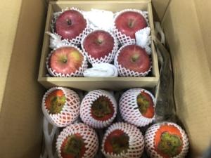 りんごのギフトボックス と 甘柿のカスタムオーダー